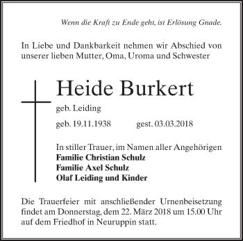 Traueranzeige Heide Burkert