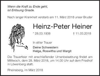 Traueranzeige Heinz-Peter Heiner