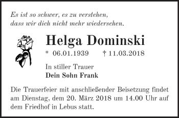 Traueranzeige Helga Dominksi