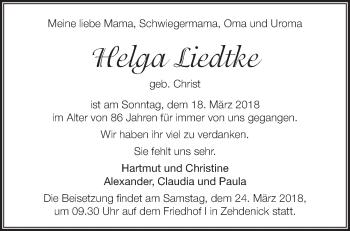 Traueranzeige Helga Liedtke