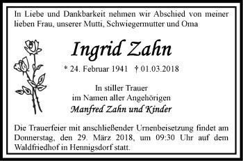 Traueranzeige Ingrid Zahn