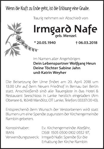 Traueranzeige Irmgard Nafe