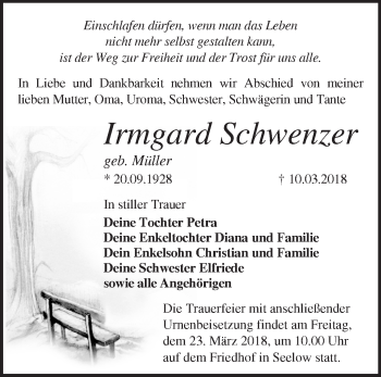 Traueranzeige Irmgard Schwenzer