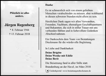 Traueranzeige Jürgen Regenberg