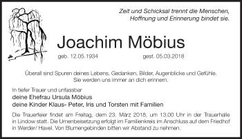 Traueranzeige Joachim Möbius
