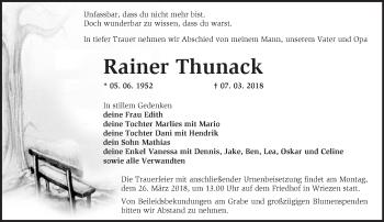 Traueranzeige Rainer Thunack