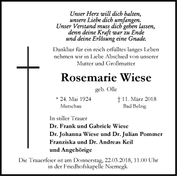 Traueranzeige Rosemarie Wiese