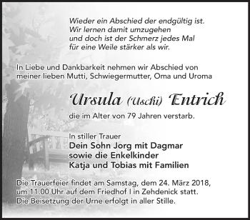 Traueranzeige Ursula Entrich