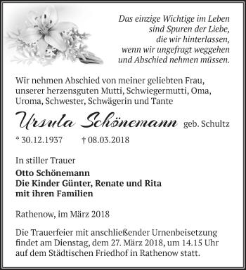 Traueranzeige Ursula Schönemann