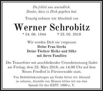Traueranzeige Werner Schrobitz