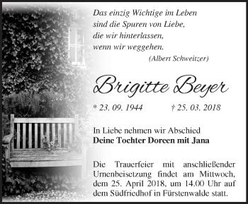 Traueranzeige Brigitte Beyer