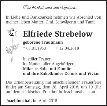 Traueranzeige Elfriede Strebelow
