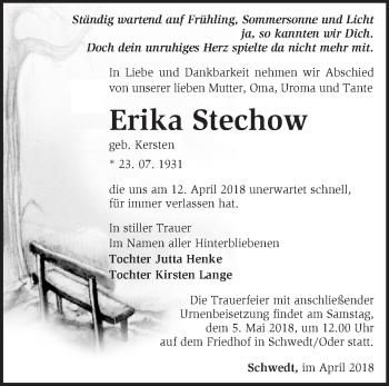 Traueranzeige Erika Stechow