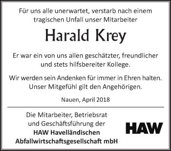 Traueranzeige Harald Krey