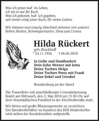 Traueranzeige Hilda Rückert