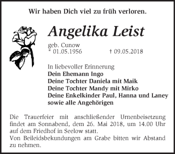Traueranzeige Angelika Leist
