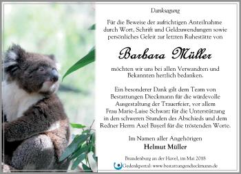 Traueranzeige Barbara Müller