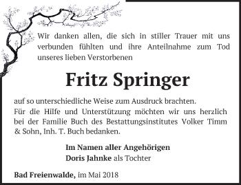 Traueranzeige Fritz Springer
