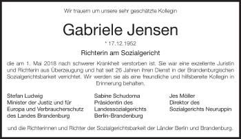 Traueranzeige Gabriele Jensen
