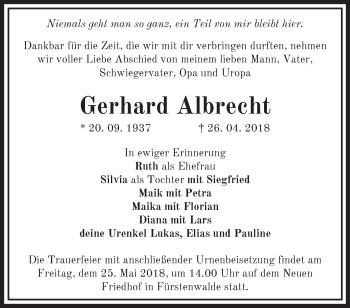 Traueranzeige Gerhard Albrecht