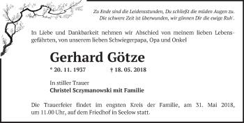 Traueranzeige Gerhard Götze