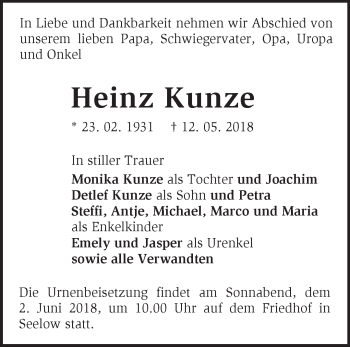 Traueranzeige Heinz Kunze