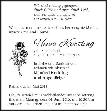 Traueranzeige Henni Kreitling