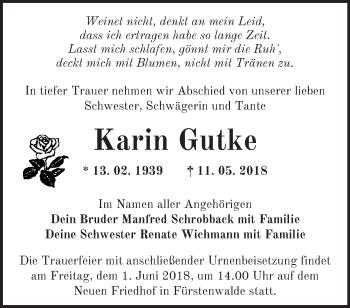 Traueranzeige Karin Gutke