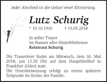 Traueranzeige Lutz Schurig