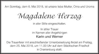 Traueranzeige Magdalene Herzog