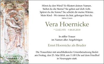 Traueranzeige Vera Hoernicke