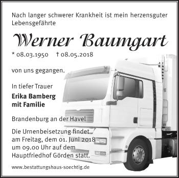 Traueranzeige Werner Baumgart
