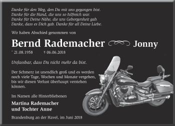 Traueranzeige Bernd Rademacher