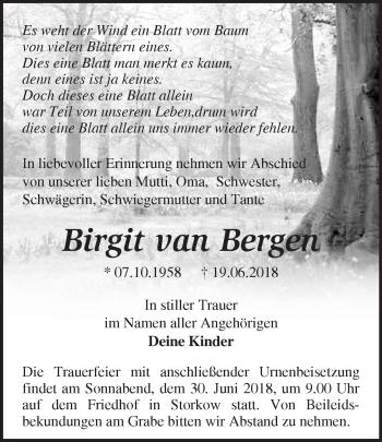 Traueranzeige Birgit  van Bergen