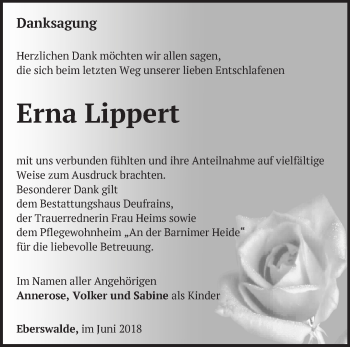 Traueranzeige Erna Lippert