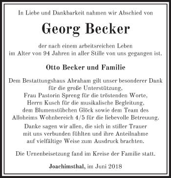 Traueranzeige Georg Becker