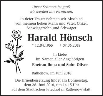 Traueranzeige Harald Hönsch