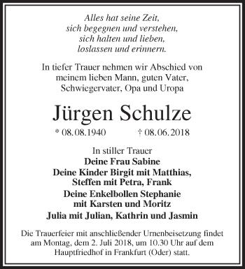 Traueranzeige Jürgen Schulze