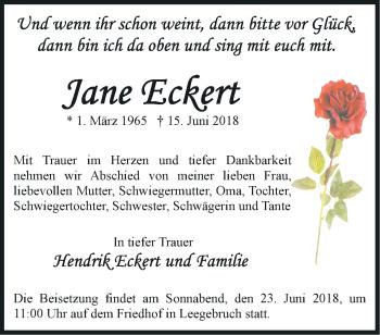 Traueranzeige Jane Eckert