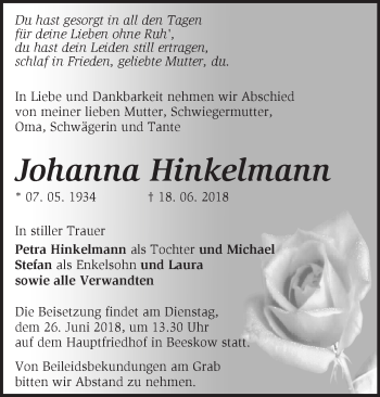 Traueranzeige Johanna Hinkelmann