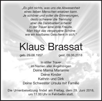 Traueranzeige Klaus Brassat