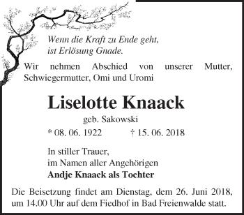 Traueranzeige Liselotte Knaack