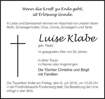 Traueranzeige Luise Klabe