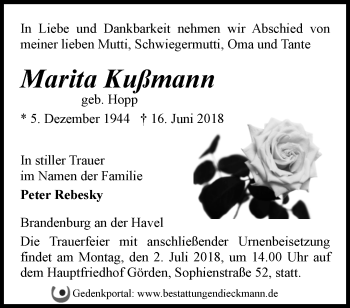 Traueranzeige Marita Kußmann