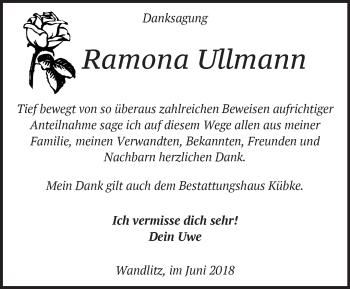 Traueranzeige Ramona Ullmann