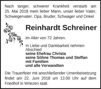 Traueranzeige Reinhardt Schreiner