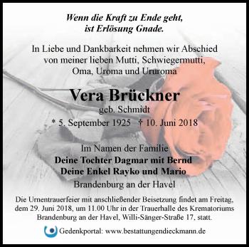 Traueranzeige Vera Brückner