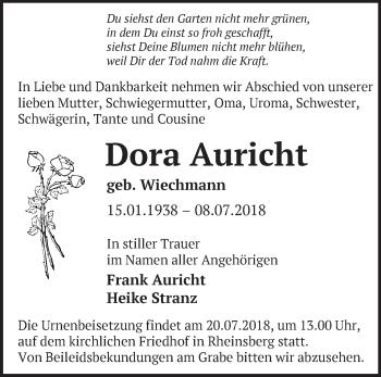 Traueranzeige Dora Auricht