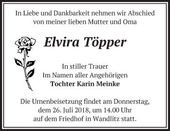 Traueranzeige Elvira Töpper