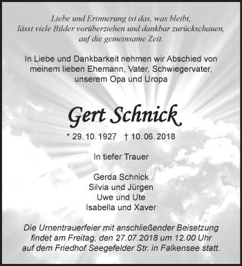 Traueranzeige Gert Schnick